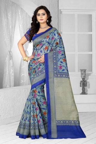 Blue Color Bhagalpuri Saree - bg-flower blue