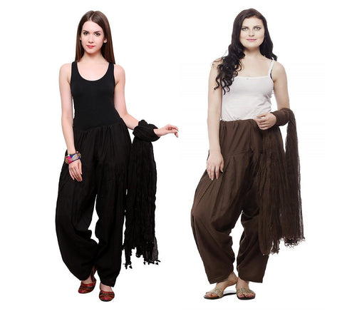 COMBOS - Blackbrown Color Cotton Stitched Women Patiala Pants With Dupata - Black-brown