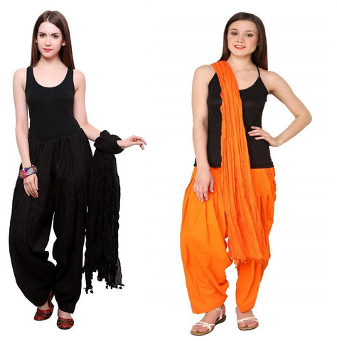 COMBOS - Blackorange Color Cotton Stitched Women Patiala Pants With Dupata - Black-orange