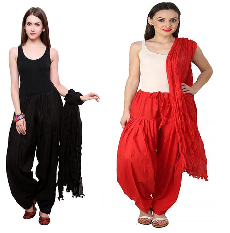 COMBOS - Blackred Color Cotton Stitched Women Patiala Pants With Dupata - Black-red