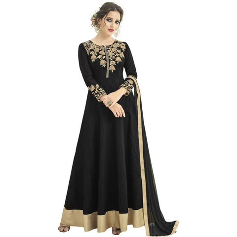 Black Color Banglori Satin Semi Stitched Salwar Kameez - black