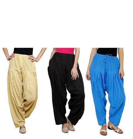 COMBOS  - Black And Beige And Blue Color Cotton Stitched Women Patiala Pants - black_beige_blue