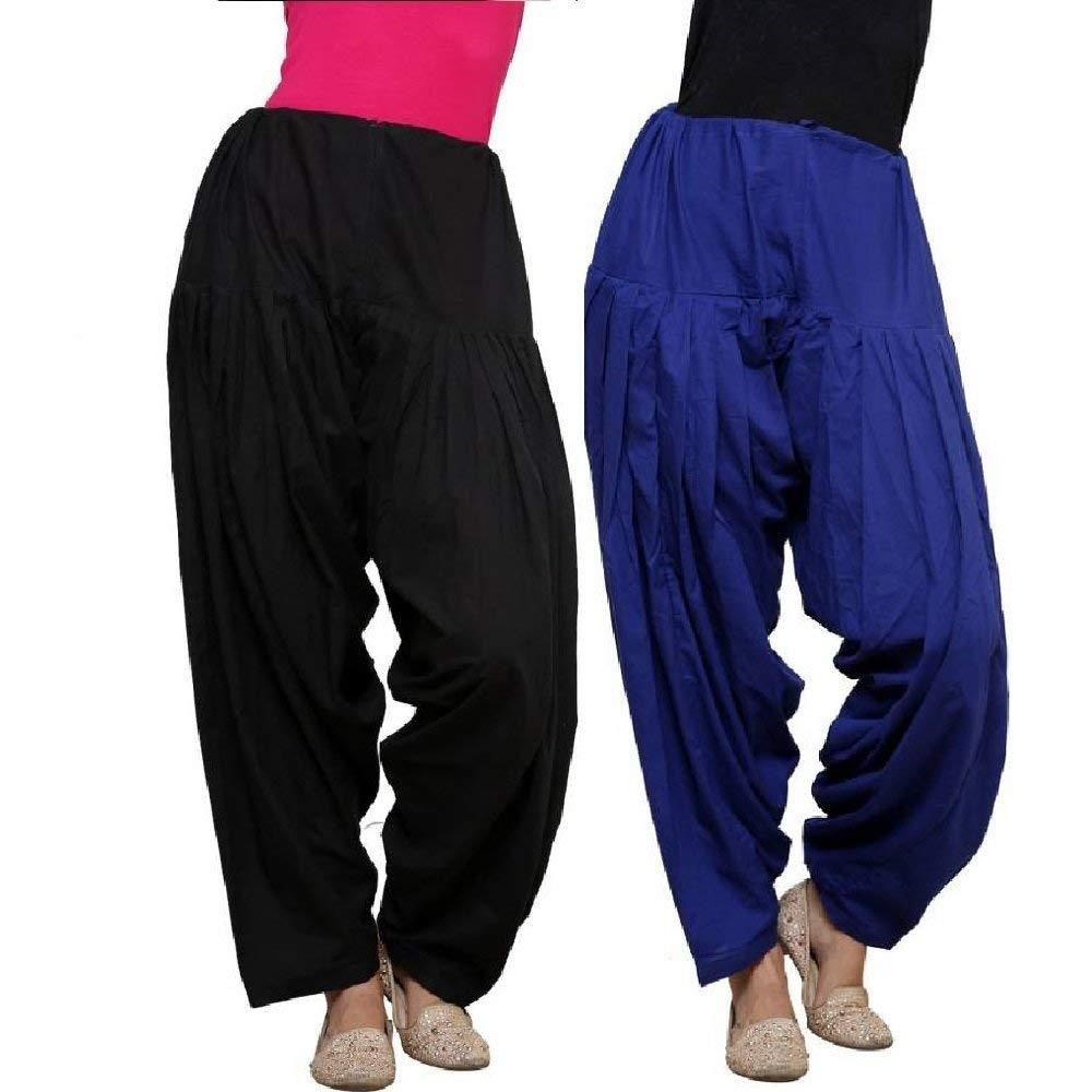 Buy COMBOS  - Black And Blue Color Cotton Stitched Women Patiala Pants