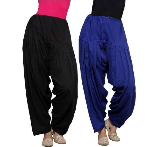COMBOS  - Black And Blue Color Cotton Stitched Women Patiala Pants - black_blue