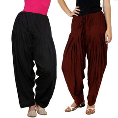 Buy COMBOS  - Black And Brown Color Cotton Stitched Women Patiala Pants