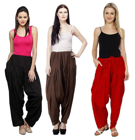 COMBOS  - Black And Brown And Maroon Color Cotton Stitched Women Patiala Pants - black_brown_maroon