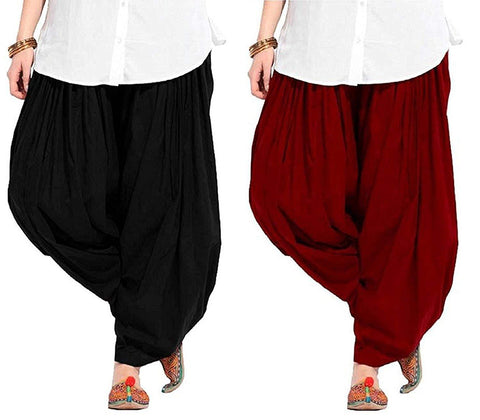 COMBOS  - Black And Maroon Color Cotton Stitched Women Patiala Pants - black_maroon