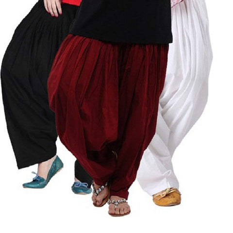 COMBOS  - Black And Maroon And White Color Cotton Stitched Women Patiala Pants - black_maroon_white