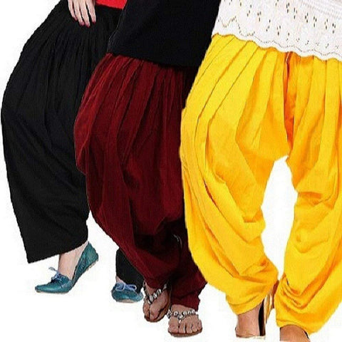COMBOS  - Black And Maroon And Yellow Color Cotton Stitched Women Patiala Pants - black_maroon_yellow