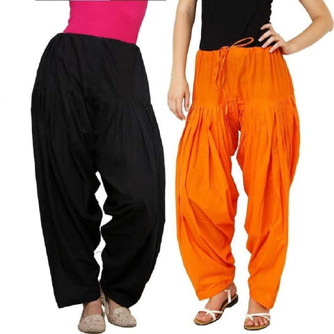 COMBOS  - Black And Orange Color Cotton Stitched Women Patiala Pants - black_orange