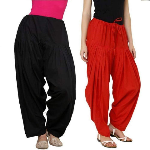 COMBOS  - Black And Red Color Cotton Stitched Women Patiala Pants - black_red