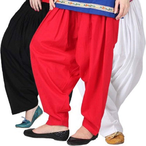 COMBOS  - Black And Red And White Color Cotton Stitched Women Patiala Pants - black_red_white