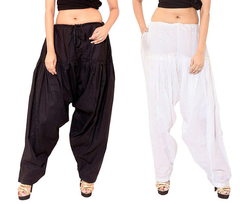 COMBOS  - Black And White Color Cotton Stitched Women Patiala Pants - black_white