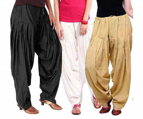 COMBOS  - Black And White And Beige Color Cotton Stitched Women Patiala Pants - black_white_beige