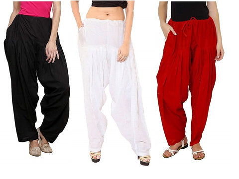COMBOS  - Black And White And Marron Color Cotton Stitched Women Patiala Pants - black_white_marron
