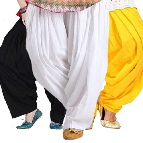 COMBOS  - Black And White And Yellow Color Cotton Stitched Women Patiala Pants - black_white_yellow