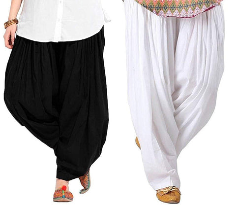 COMBOS  - Black And Whitee Color Cotton Stitched Women Patiala Pants - black_whitee