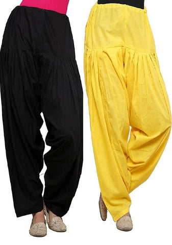 COMBOS  - Black And Yellow Color Cotton Stitched Women Patiala Pants - black_yellow