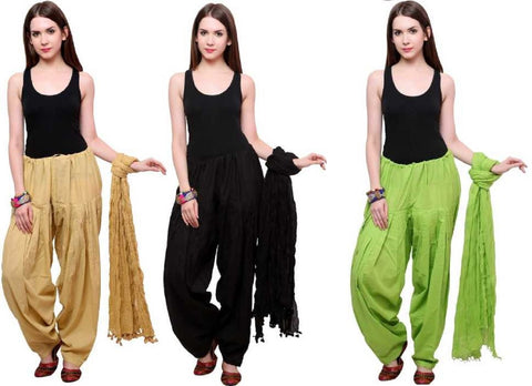COMBOS - Blackbaigegreen Color Cotton Stitched Women Patiala Pants With Dupata - Blackbaigegreen