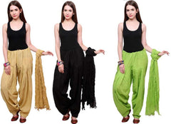 Buy COMBOS - Blackbaigegreen Color Cotton Stitched Women Patiala Pants With Dupata
