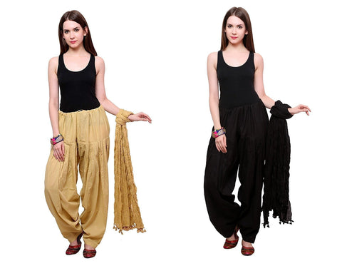 COMBOS - Blackbeige Color Cotton Stitched Women Patiala Pants With Dupata - Blackbeige
