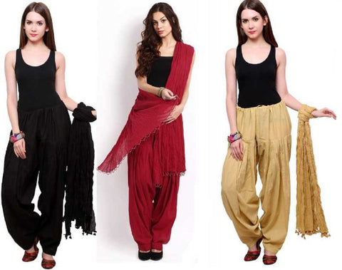 COMBOS - Blackbeigemaroon Color Cotton Stitched Women Patiala Pants With Dupata - Blackbeigemaroon