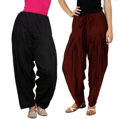 COMBOS - Multi Color Cotton Stitched Women Patiala Pants - blackbrown