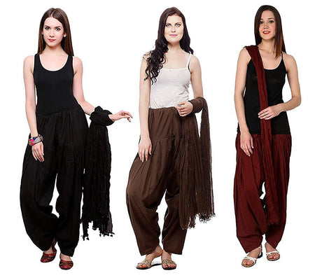 COMBOS - Blackbrownmaroon Color Cotton Stitched Women Patiala Pants With Dupata - Blackbrownmaroon
