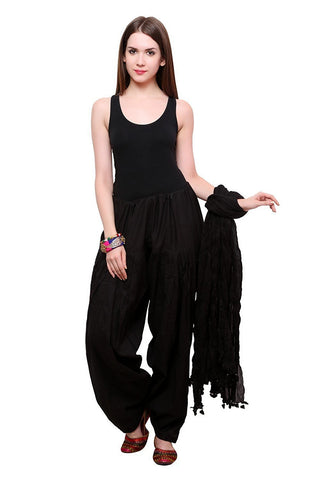 COMBOS - Blackkk Color Cotton Stitched Women Patiala Pant With Duppata - Blackkk