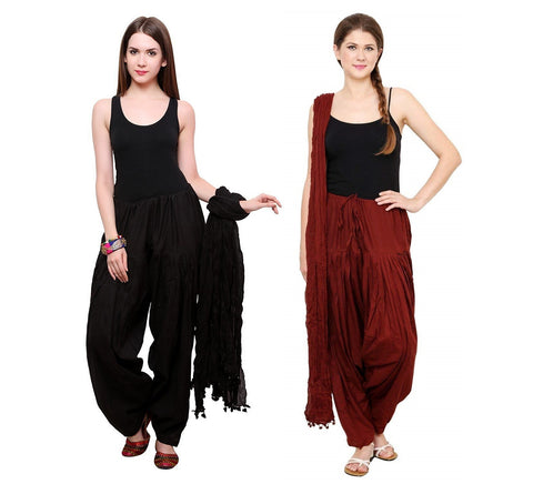 COMBOS - Blackmaroon Color Cotton Stitched Women Patiala Pants With Dupata - Blackmaroon