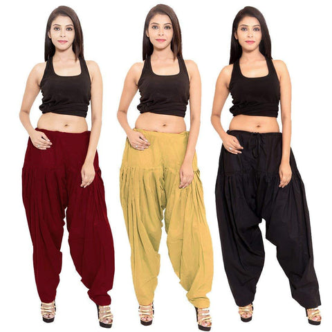 COMBOS - Multi Color Cotton Stitched Women Patiala Pants - blackmaroonbeige