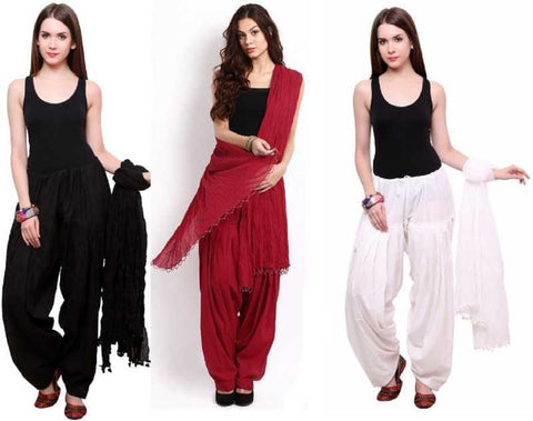 COMBOS - Blackmaroonwhite Color Cotton Stitched Women Patiala Pants With Dupata - Blackmaroonwhite