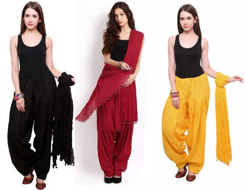 COMBOS - Blackmaroonyellow Color Cotton Stitched Women Patiala Pants With Dupata - Blackmaroonyellow