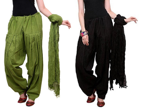 COMBOS - Blackmehendi Color Cotton Stitched Women Patiala Pants With Dupata - Blackmehendi