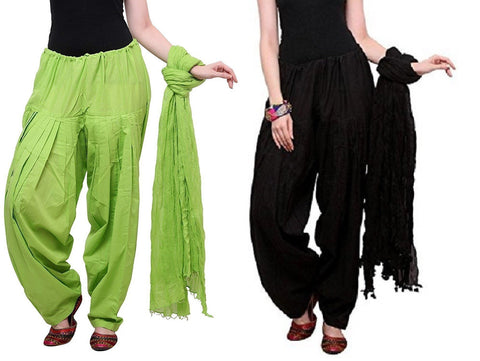 COMBOS - Blackparrot Color Cotton Stitched Women Patiala Pants With Dupata - Blackparrot