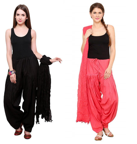 COMBOS - Blackpeach Color Cotton Stitched Women Patiala Pants With Dupata - Blackpeach