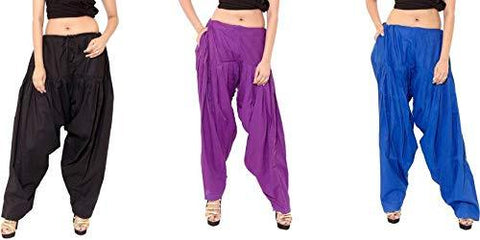 COMBOS - Multi Color Cotton Stitched Women Patiala Pants - blackpurpleroyal
