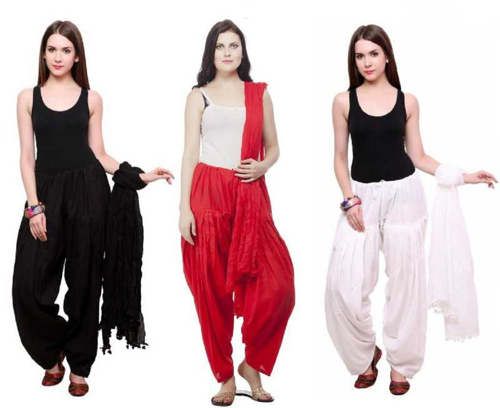Buy COMBOS - Blackredwhite Color Cotton Stitched Women Patiala Pants With Dupata