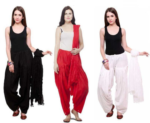 COMBOS - Blackredwhite Color Cotton Stitched Women Patiala Pants With Dupata - Blackredwhite