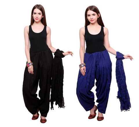 COMBOS - Blackroyalblue Color Cotton Stitched Women Patiala Pants With Dupata - Blackroyalblue
