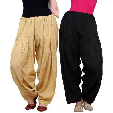 COMBOS - Multi Color Cotton Stitched Women Patiala Pants - blackskin