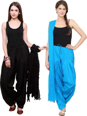 COMBOS - Blacktourquis Color Cotton Stitched Women Patiala Pants With Dupata - Blacktourquis