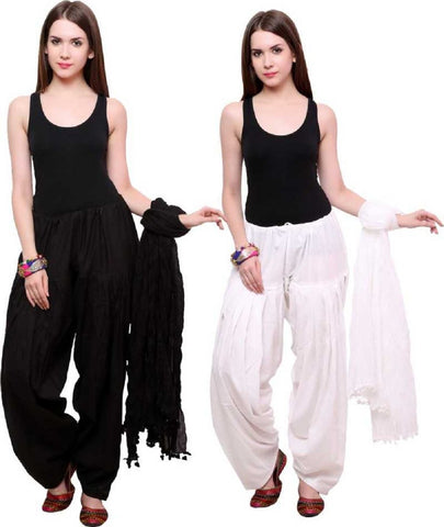 COMBOS - Blackwhite Color Cotton Stitched Women Patiala Pants With Dupata - Blackwhite