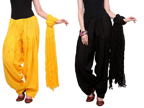 COMBOS - Blackyellow Color Cotton Stitched Women Patiala Pants With Dupata - Blackyellow
