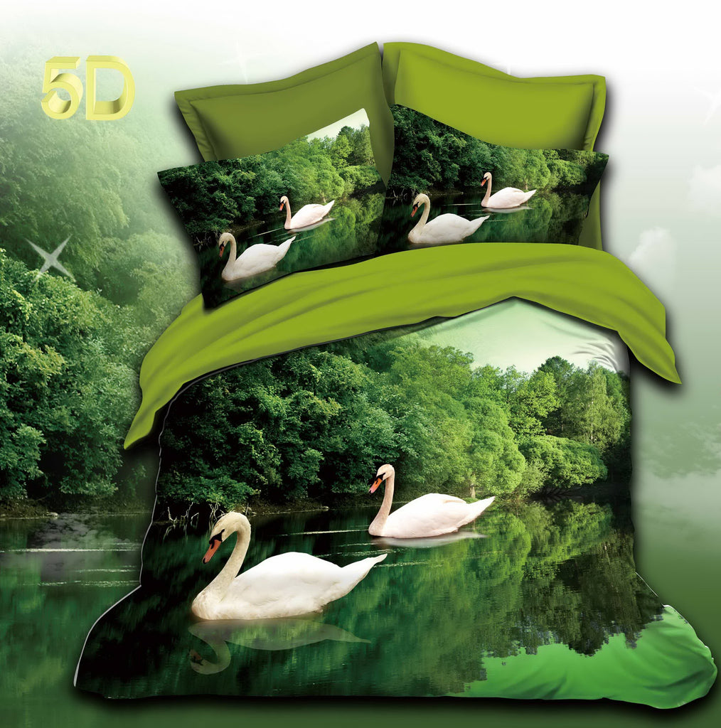 Green Color Poly Cotton Bed Sheet
