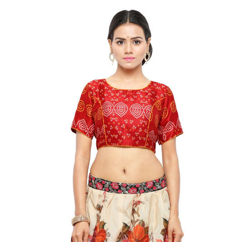 Red Color Bhagalpuri Free Size Blouse - blouse-bhandani