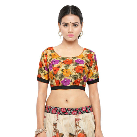 Orange Color Bhagalpuri Free Size Blouse - blouse-orange