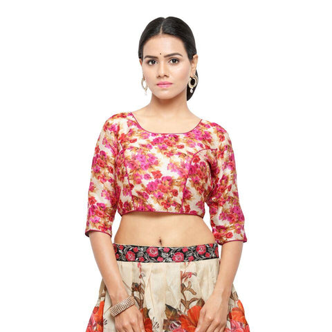Pink Color Bhagalpuri Free Size Blouse - blouse-pink
