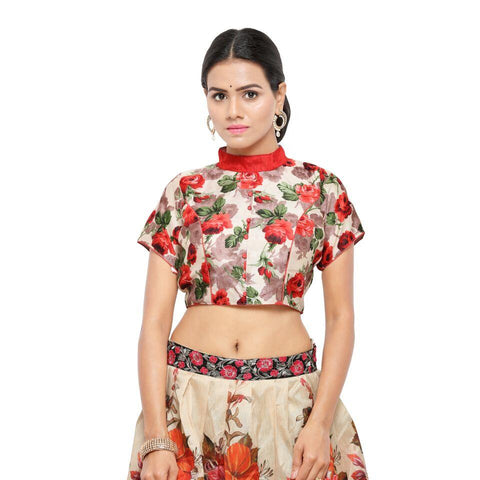 Red Color Bhagalpuri Free Size Blouse - blouse-red