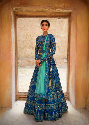 Blue Teal Color Taffeta Silk Semi Stitched Lehenga - YOYO-Fashion-10053